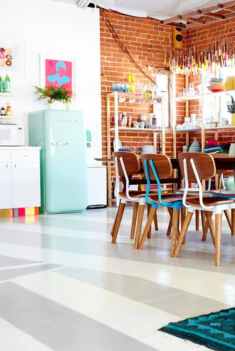Room, Interior design, Furniture, Floor, Dining room, Turquoise, Table, Flooring, Building, House,