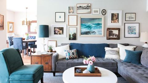 Living room, Room, Furniture, Interior design, Turquoise, Couch, Home, Blue, Property, Table,