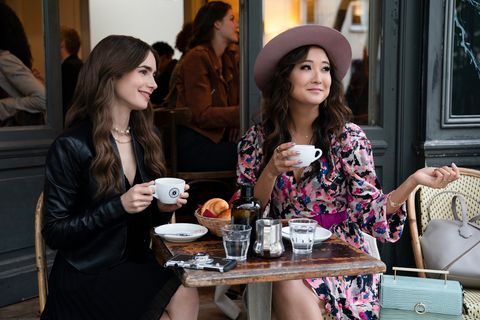 emily in paris l to r ashley park as mindy chen and lily collins as emily in episode 106 of emily in paris cr stephanie branchunetflix © 2020