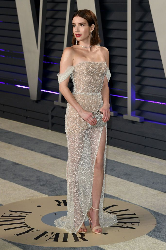 Emma Roberts Roberts is evidence that the naked dress can be worn in a glamorous and tasteful manner. She chose this Yanina Couture dress with Christian Louboutin shoes for the 2019 Vanity Fair Oscars After-Party .