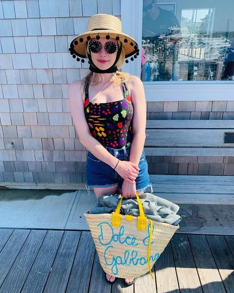Emma Roberts In Fruit And Veg Swimsuit And Nostalgic Cross Back Like When We Were 90's Girls