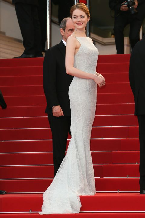 """irrational man"" premiere   the 68th annual cannes film festival、エマ・ストーン、ホワイトドレス"