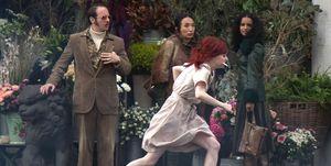 Emma Stone as Cruella De Vil filming 101 Dalmatians, London