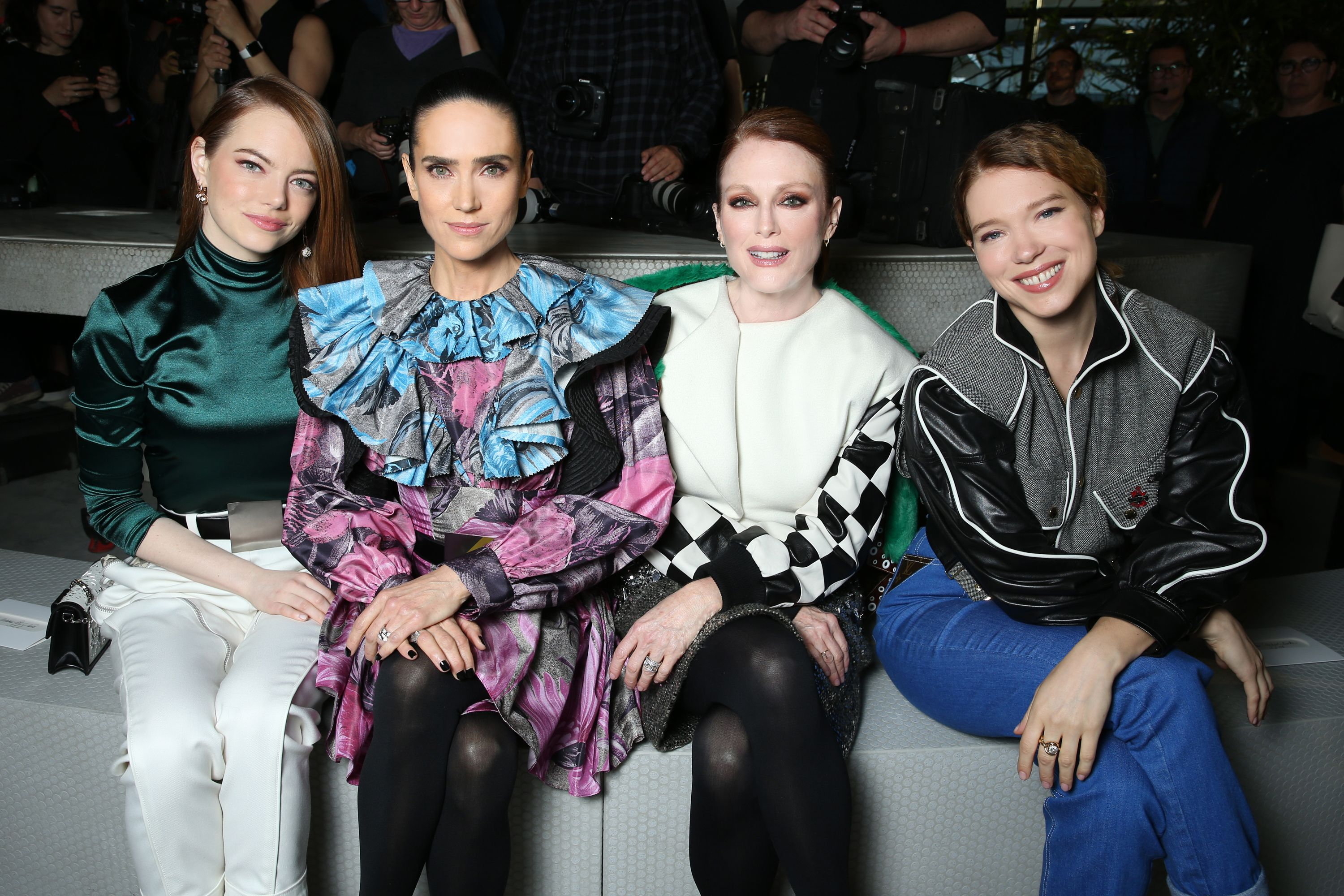 Emma Stone, Jennifer Connelly, Julianne Moore, and Lea Seydoux in the front row.