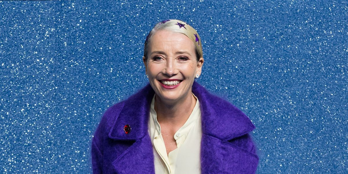 Emma Thompson shows off a super festive new glittery hairstyle on the red carpet - goodhousekeeping.com
