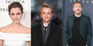 Een portretfoto van Emma Watson, Tom Felton enRupert Grint.