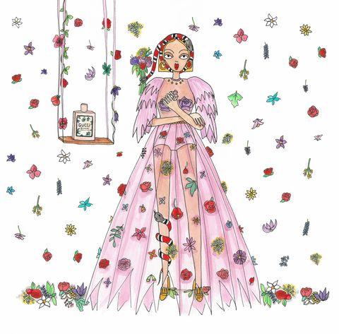 Dress, Gown, Illustration, Costume design, Fashion illustration, Graphics, Plant, Floral design, Pattern, Style,