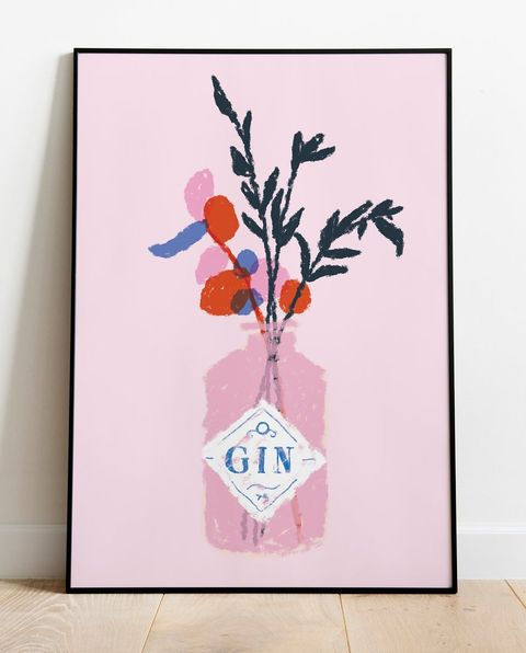 pink gin bottle flower print