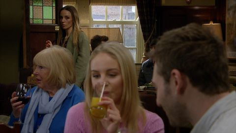 andrea tate, belle dingle and jamie tate in emmerdale
