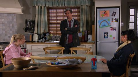 belle dingle, cain dingle and moira dingle in emmerdale