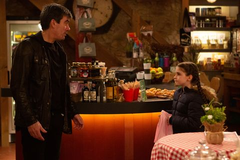 Cain Dingle lies to April Windsor in Emmerdale