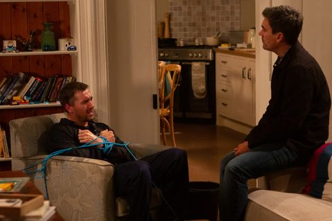 Cain Dingle demands answers from Pete Barton in Emmerdale