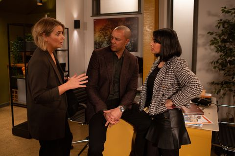 charity dingle, al chapman and priya kotecha in emmerdalein emmerdale