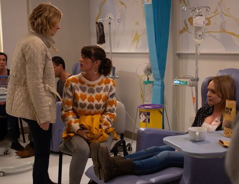 Charity Dingle, Kerry Wyatt and Vanessa Woodfield in Emmerdale
