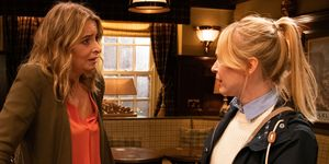 Charity Dingle and Vanessa Woodfield in Emmerdale