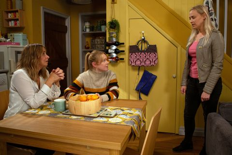 Charity Dingle, Vanessa Woodfield and Tracy Metcalfe in Emmerdale