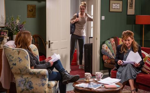 Dawn Taylor overhears Harriet Finch's conversation in Emmerdale