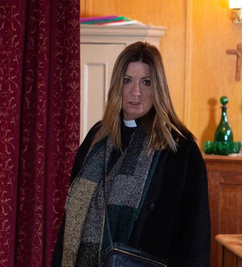 harriet finch discovers the church has been broken into in emmerdale