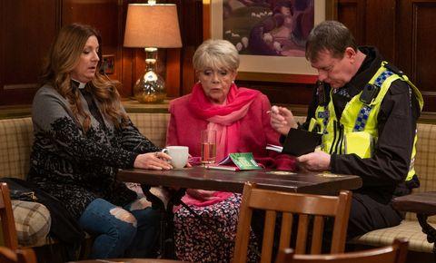 Harriet Finch is interviewed by police in Emmerdale