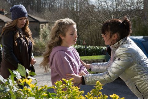 Amelia Spencer is angry with Kerry Wyatt in Emmerdale