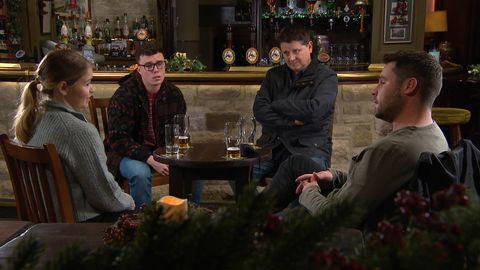 liv flaherty, vinny dingle, paul ashdale and aaron dingle in emmerdale