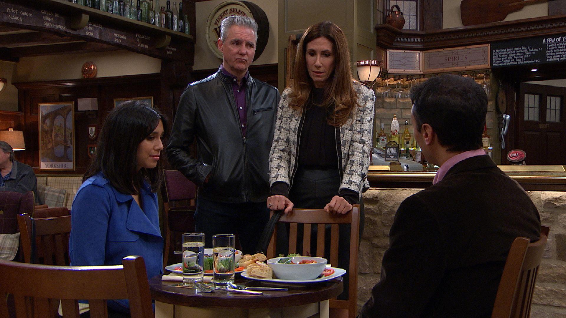 Megan Macey faces Jai Sharma's anger in Emmerdale