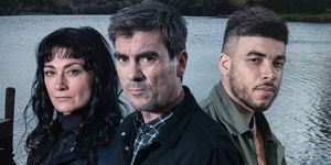 Moira Dingle, Cain Dingle and Nate Robinson in Emmerdale