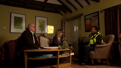 Paddy Kirk and Rhona Goskirk speak to the police in Emmerdale