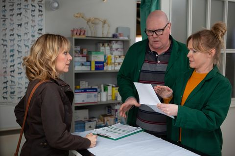 Rhona Goskirk has to explain herself to Paddy and Vanessa in Emmerdale