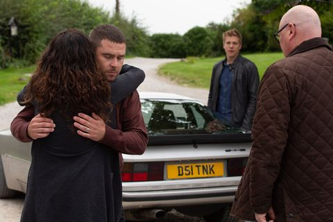 Robert Sugden and Aaron Dingle leave together in Emmerdale