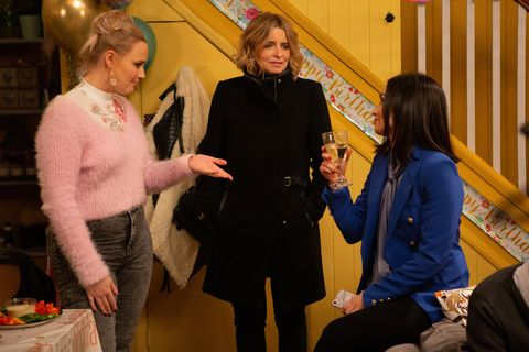 Tracy Metcalfe, Charity Dingle and Leyla Harding in Emmerdale