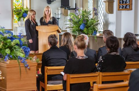 Vanessa Woodfield and Tracy Metcalfe at Frank Clayton's funeral in Emmerdale