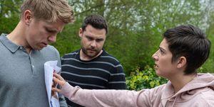 Victoria Barton confronts Robert Sugden in Emmerdale