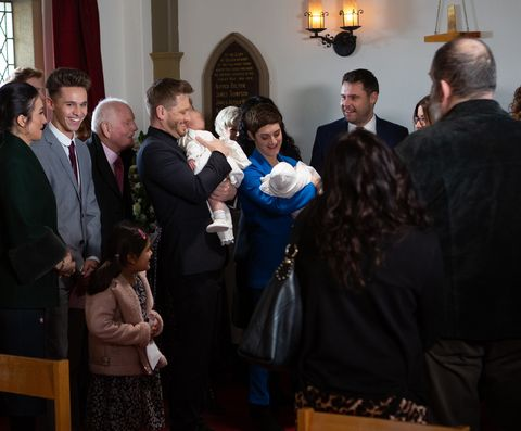 The joint christening takes place in Emmerdale