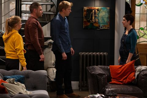 Victoria Sugden has news for Robert Sugden and Aaron Dingle in Emmerdale