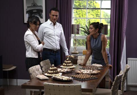 Priya Kotecha, Jai Sharma and Manpreet Sharma react to Rishi's plans in Emmerdale