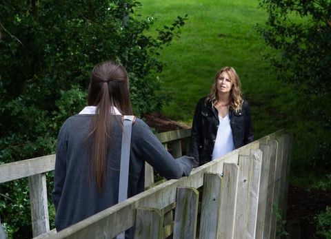 Charity Dingle tries talking to Sarah Sugden in Emmerdale