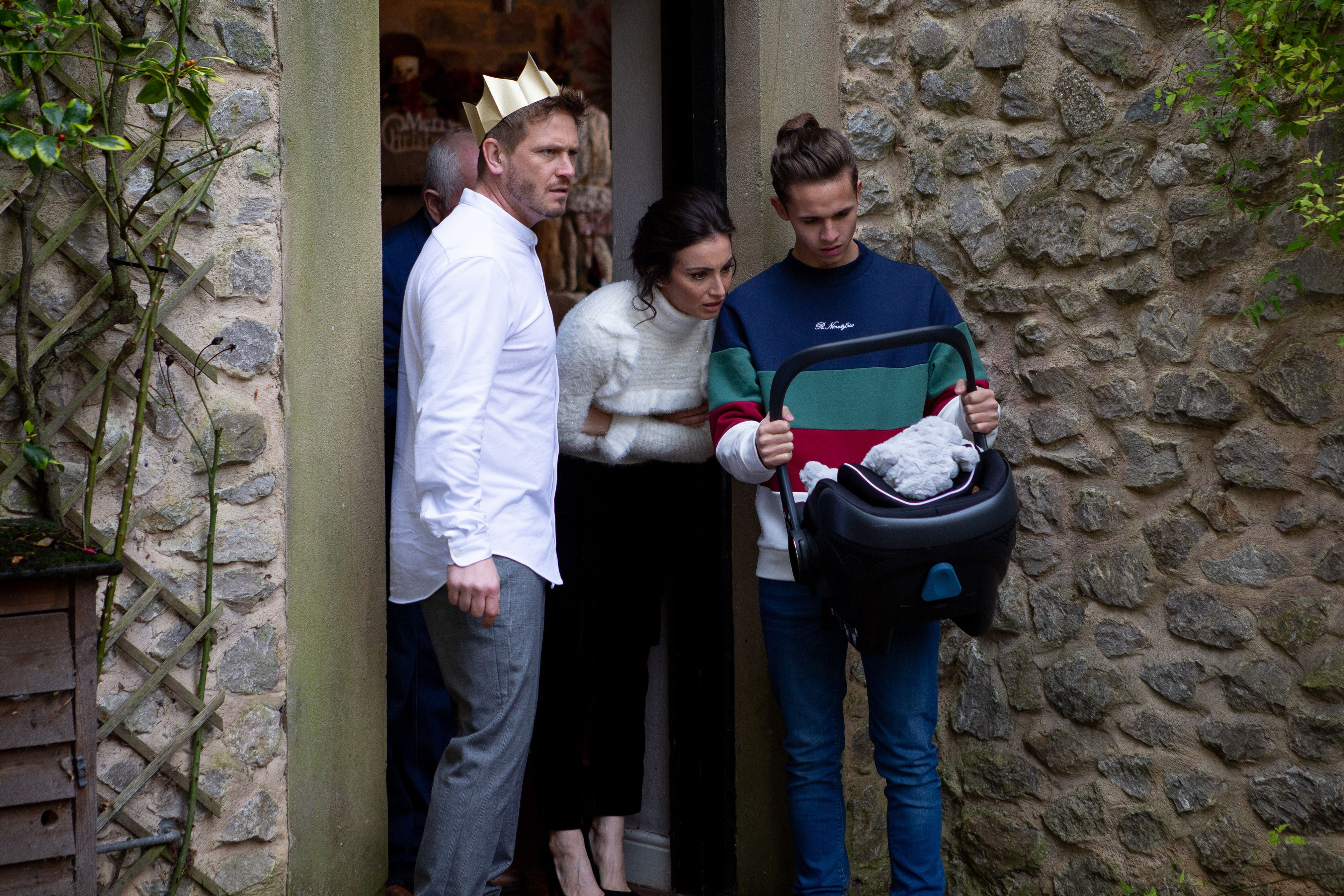 Emmerdale reveals first look at David and Jacob's Christmas baby shock