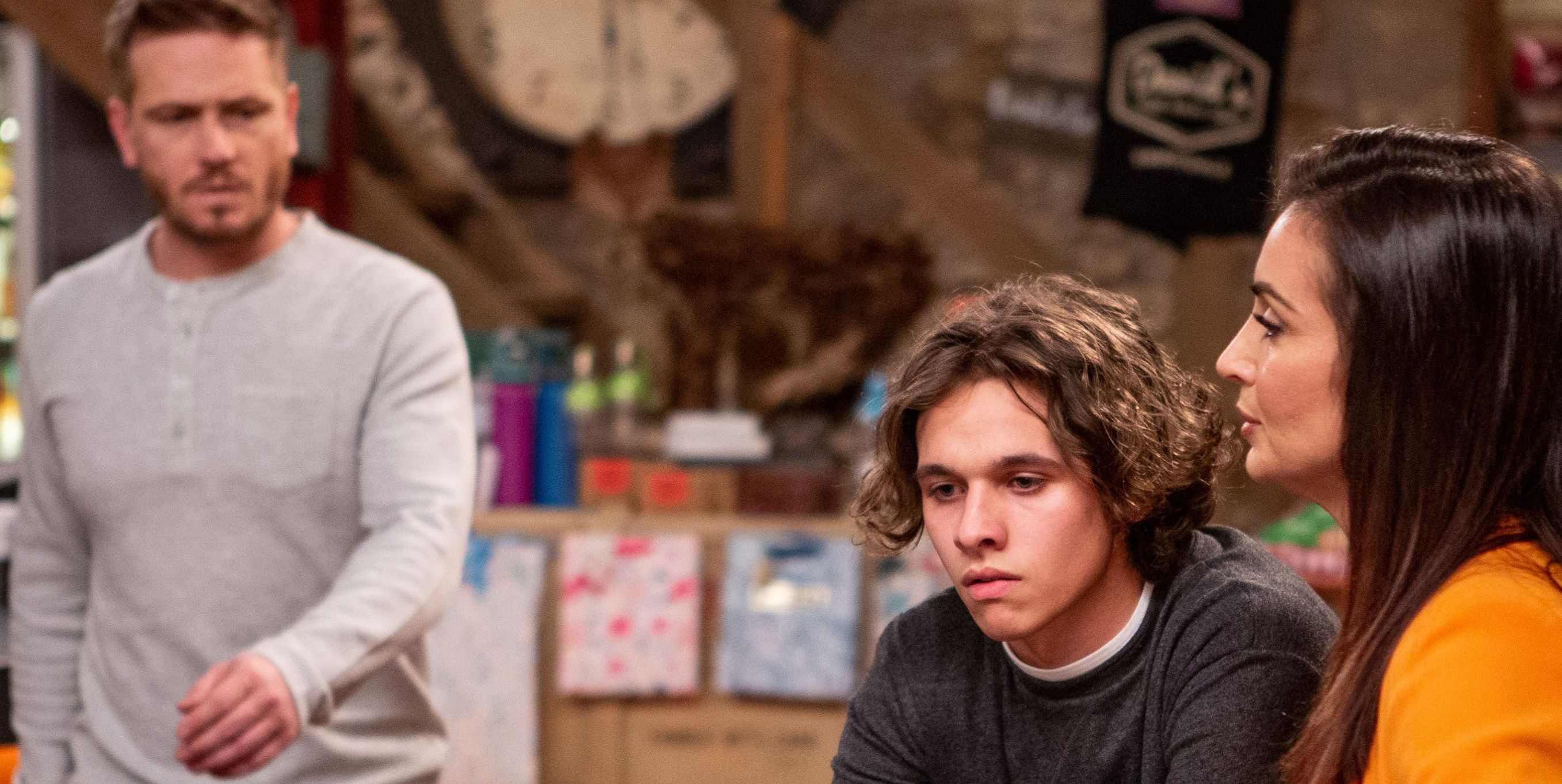David Metcalfe and Leyla Harding worry about Jacob Gallagher in Emmerdale