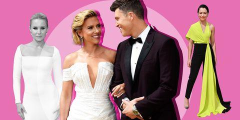 Pink, Formal wear, Dress, Shoulder, Suit, Fashion, Skin, Gown, Event, Tuxedo,