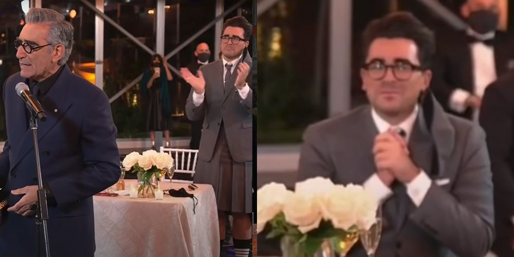 'Schitt's Creek' Fans Cannot Handle Dan Levy's Emotional Reaction to His Dad's Emmy Win