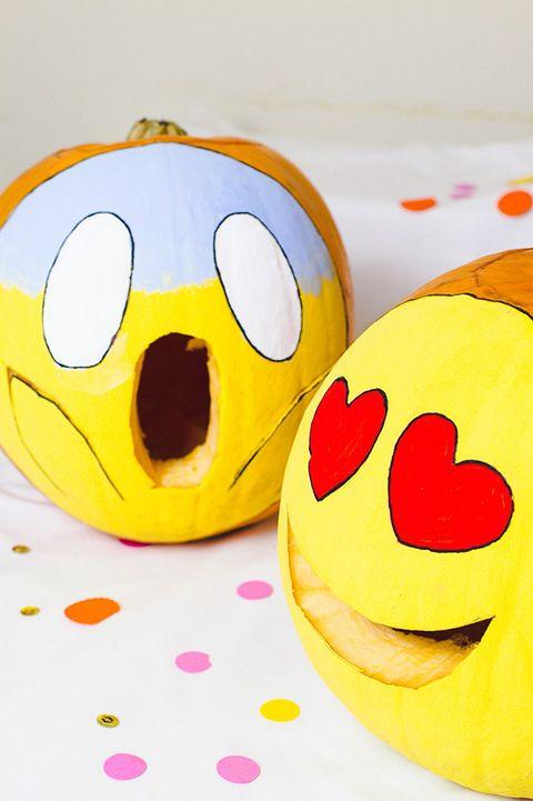 heart eyes and shocked face emoji pumpkins