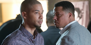 Empire:  Lucious (Terrence Howard, R) and Jamal (Jussie Smollett, L) form a music-centered relationship
