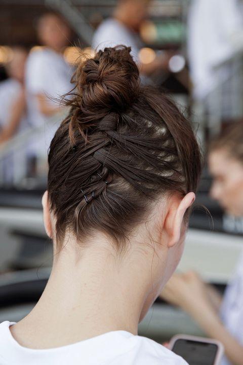 Hair, Hairstyle, Chignon, Bun, Long hair, Brown hair, Neck, Hair coloring, Ear, Back,