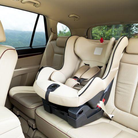 empty baby car seat inside car
