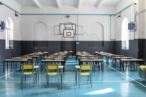 empty classroom at a school in central naples after the