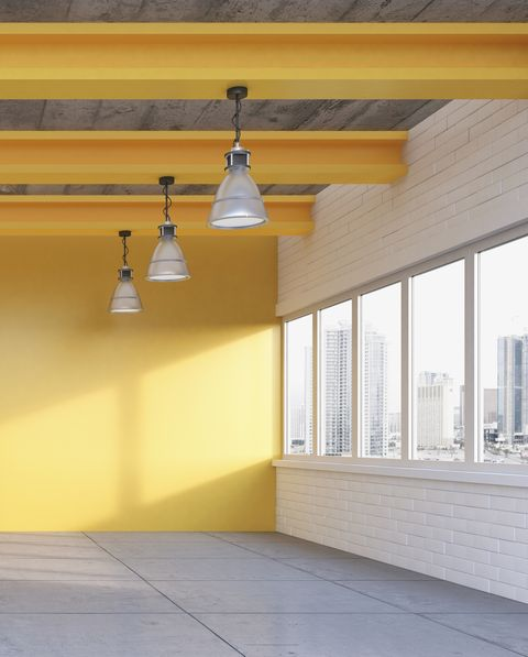 Empty loft with yellow wall, 3D Rendering