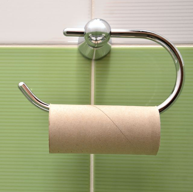 Empty roll on toilet paper holder