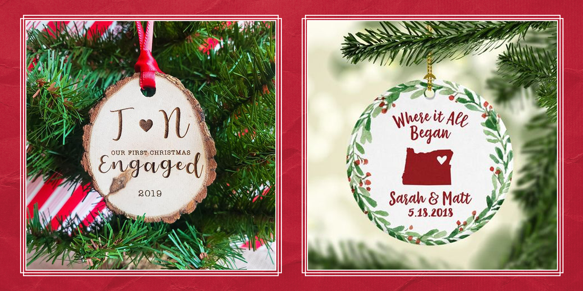 25 Best Engagement Ornaments Personalized Ornaments For First Engaged Christmas