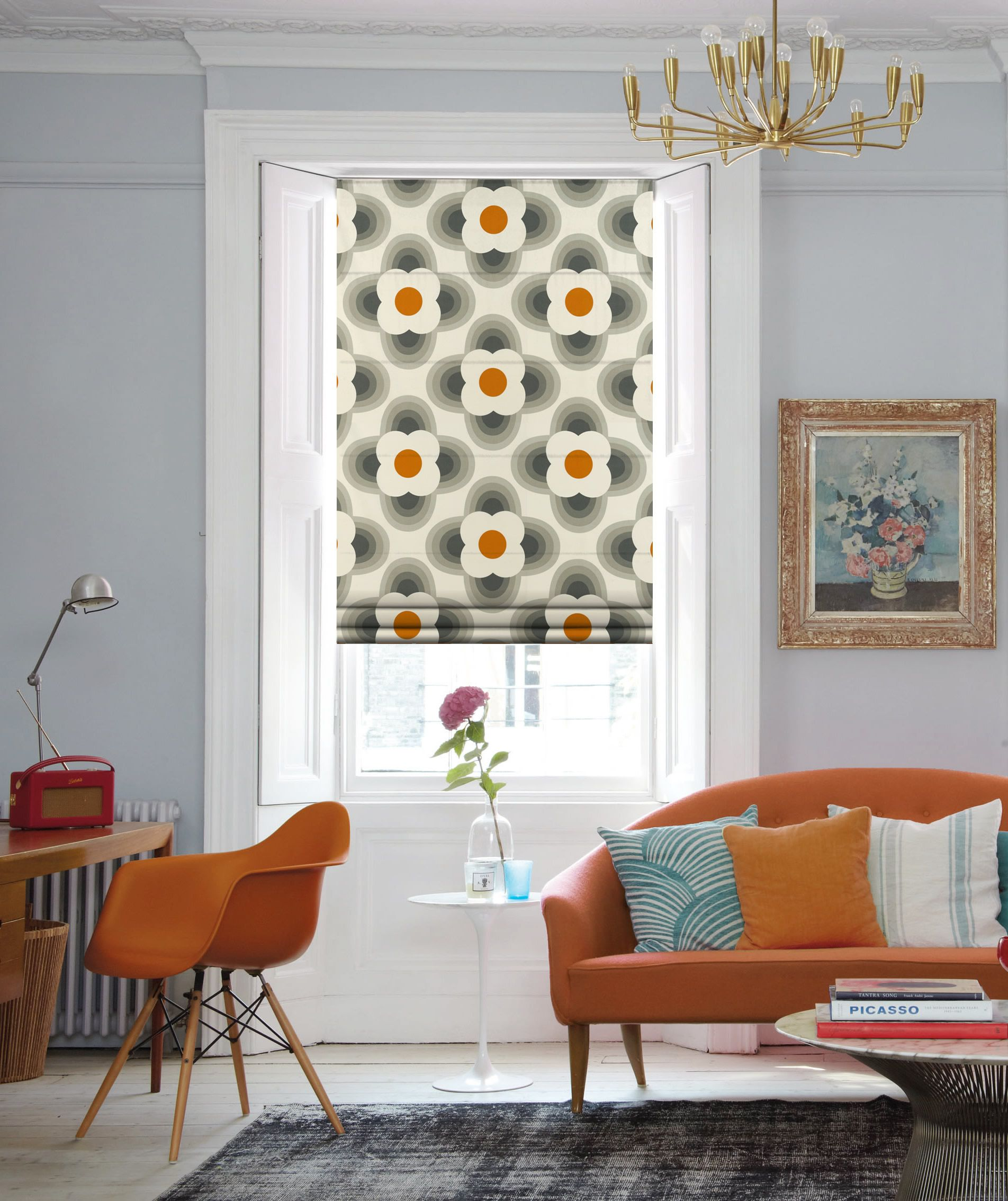 English Blinds Orla Kiely Striped Petal Orange Roman Blinds From £68.45